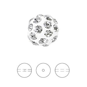White Discoball bead 8 mm, 86001 8MM 01 001
