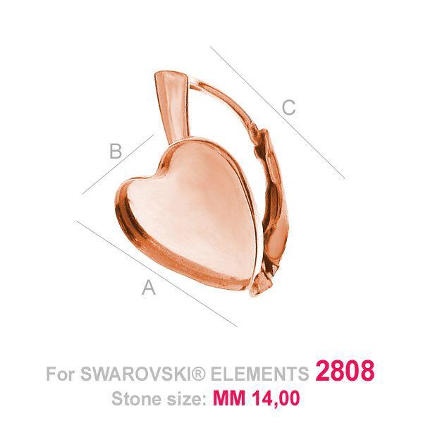 Heart earring base Swarovski Heart Flat Back 2808 HKSV 2808 14MM BA