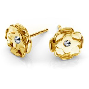 Rose earrings with Swarovski crystals, sterling silver 925, ODL-00009 KLS ver.2