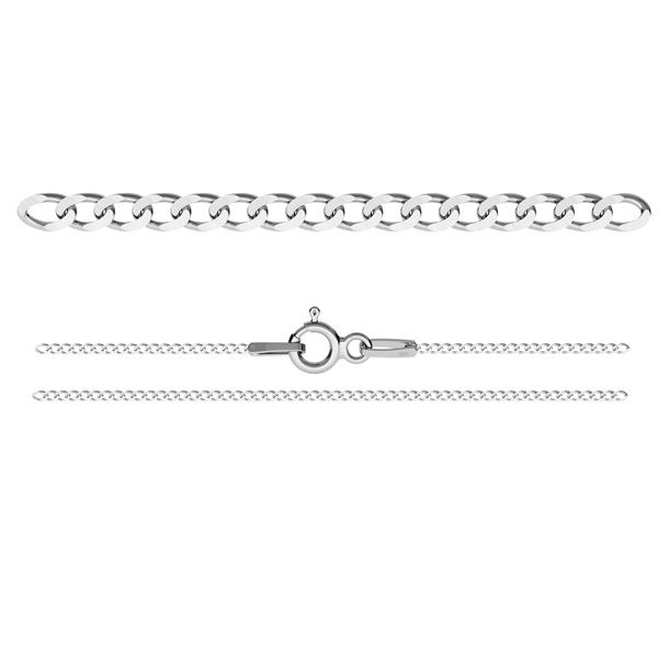 PDS  35 (38-75 cm), curb chain 1,1 mm, sterling silver 925