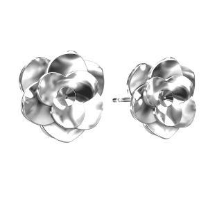 Rose earrings Swarovski base, sterling silver 925, ODL-00041 KLS