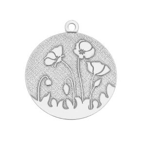 Poppies pendant, sterling silver 925, LK-0439 17x19,5 mm