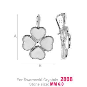 Clover heart bail setting - HKSV 2808  4x6MM KRP