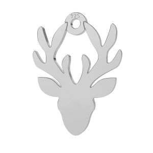 Deer, reindeer pendant, sterling silver 925, LK-0600 - 0,50 11,3x15 mm