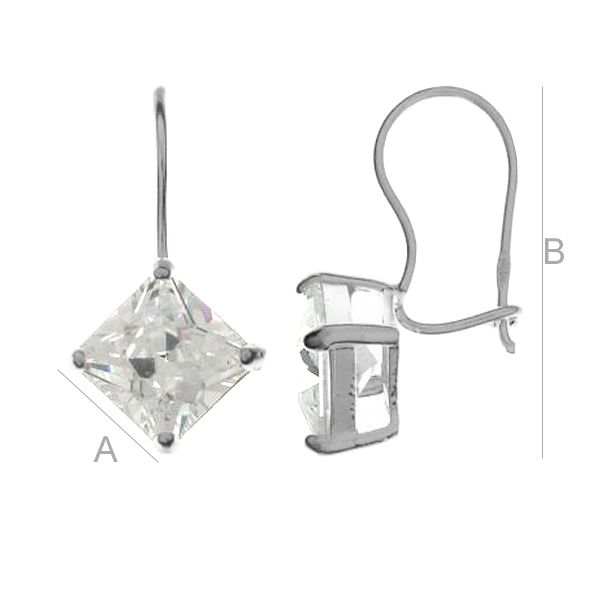 Zirconia earrings 8x8mm - KLB 8x8 CRYSTAL