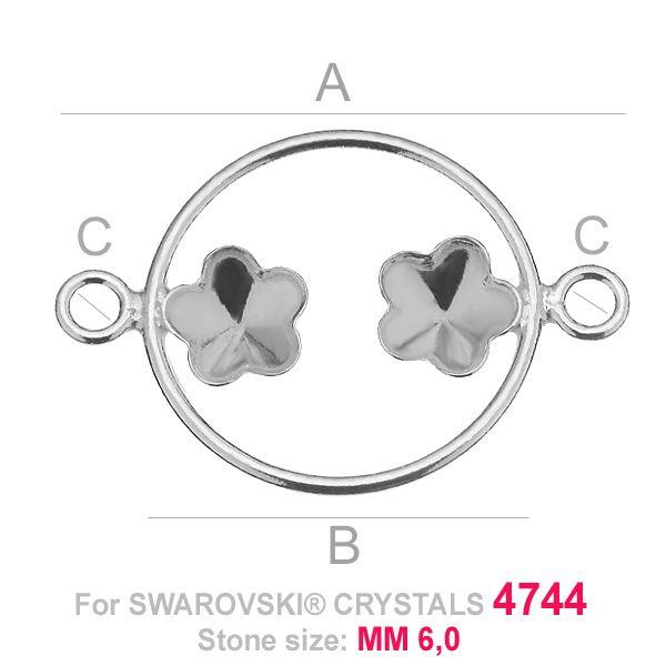 Two flowers 6mm Swarovski base FKSV 4744 MM 6+6 CON1 KCL 0,9x2,0