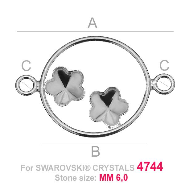 Two flowers 6mm Swarovski base connector FKSV 4744 MM 6+6 CON2 KCL 0,9x2,0 ver.1
