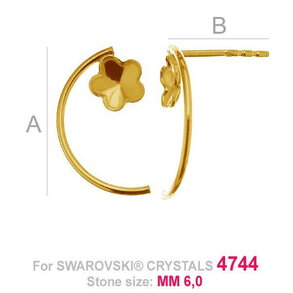 Flower 6mm Swarovski earrings base FKSV 4744 MM 6 KLS ver. 2