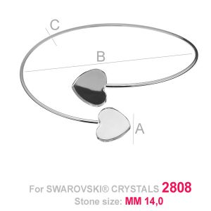 Round sliding bracelet (base) for hearts HKSV 2808 2x14 MM SBR