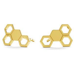 Honeycomb post earring, LK-0811 KLS - 0,50