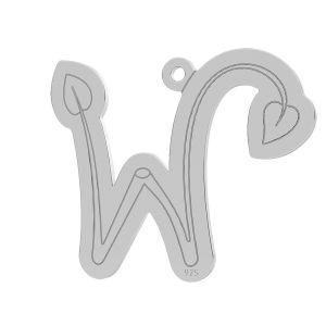 Twig letter W pendant, LK-0844 - 0,50