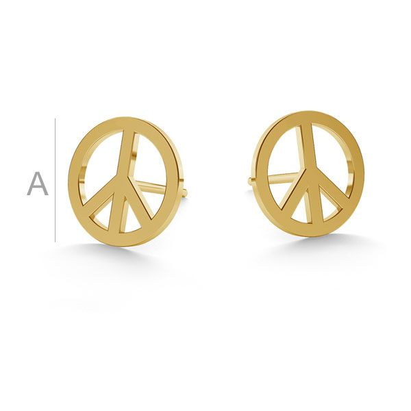 Peace symbol post earrings gold 14K LKZ-00590 KLS - 0,30 mm