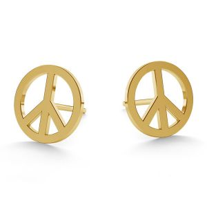 Peace symbol post earrings gold 14K LKZ-00590 KLS - 0,30 mm