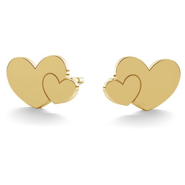 Double heart earrings gold 14K LKZ-00702 KLS - 0,30 mm