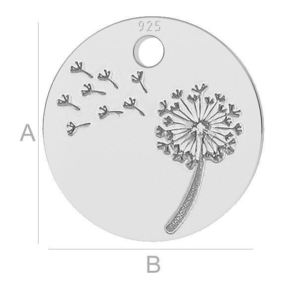 Dandelion pendant charms, LK-0480 - 0,50