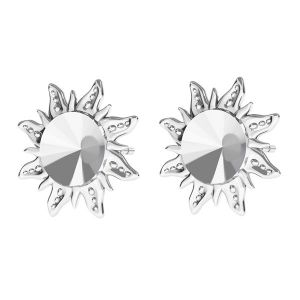 Arrow earrings base for Swarovski Rivoli 6mm, sterling silver 925, ODL-00313 KLS (1122 SS 29)