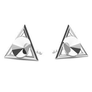 Arrow earrings base for Swarovski Rivoli 6mm, sterling silver 925, ODL-00315 KLS (1122 SS 29)