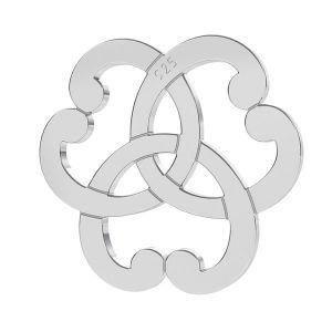 Triquetra hearts rosette pendant, sterling silver 925, LK-1260 - 0,50