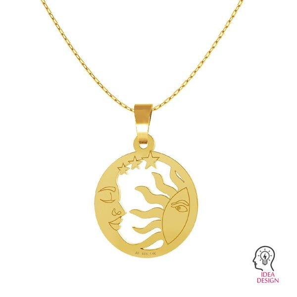 Moon and sun gold pendant, AU 585 14K, LKZ-00662 - 0,30