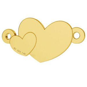 Double heart gold pendant, AU 585 14K, LKZ-00701 - 0,30