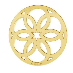 Gold rosette pendant, AU 585 14K, LKZ-00742 - 0,30
