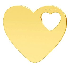 Double heart gold pendant, AU 585 14K, LKZ-01304 - 0,30