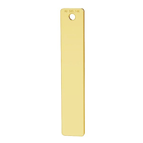 Rectangle gold pendant, 14K, LKZ-00512 - 0,30
