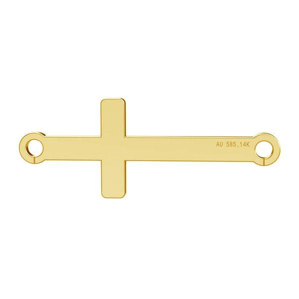 Horizontal cross pendant, gold 14K, LKZ-00524 - 0,30