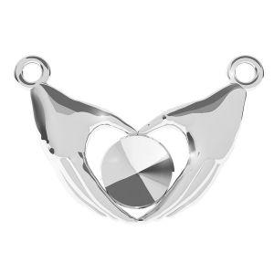 Double hand heart pendant for Swarovski Rivoli 6mm, silver 925, ODL-00334 (1122 SS 29)