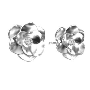 Rose earrings with Swarovski, sterling silver 925, ODL-00041 KLS - CRYSTAL