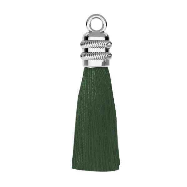 Green tassel earring base, sterling silver 925, S-TASSEL-010