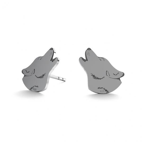 Wolf earrings, sterling silver 925, LK-0905 KLS - 0,50