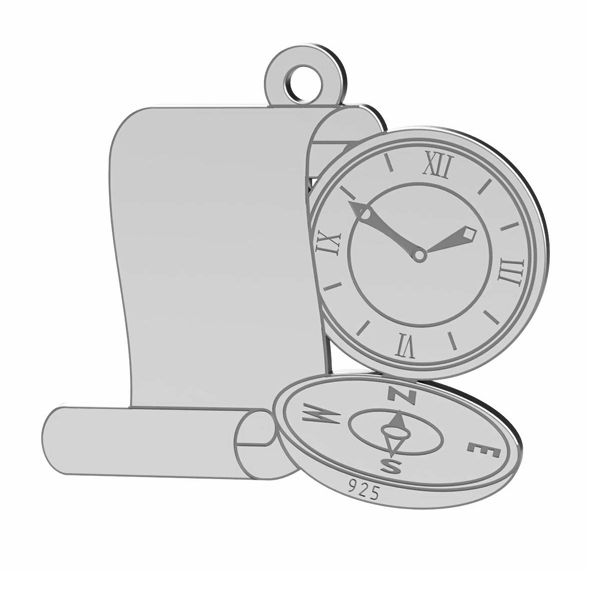 Compass pendant, sterling silver 925, LK-1369 - 0,50
