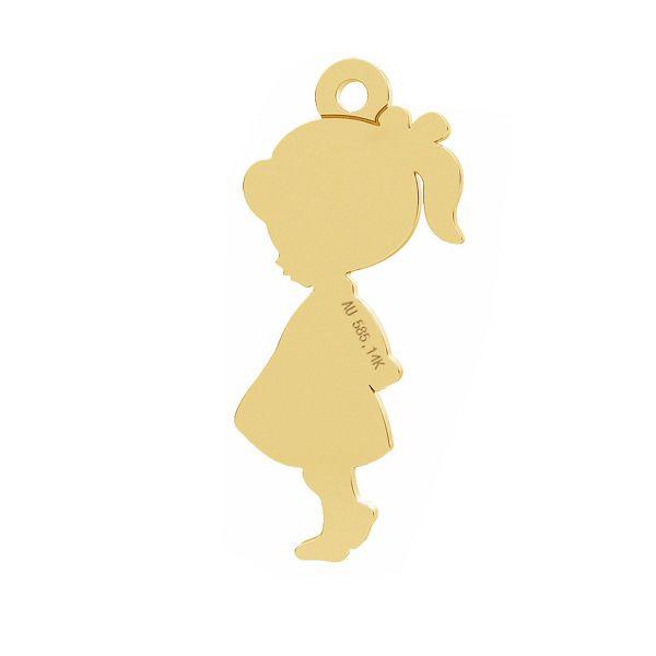 Girl gold pendant, AU 585 14K, LKZ-01283 - 0,30