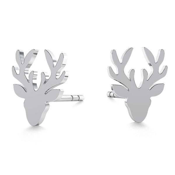 Deer earrings, sterling silver 925, LK-0615 KLS - 0,50