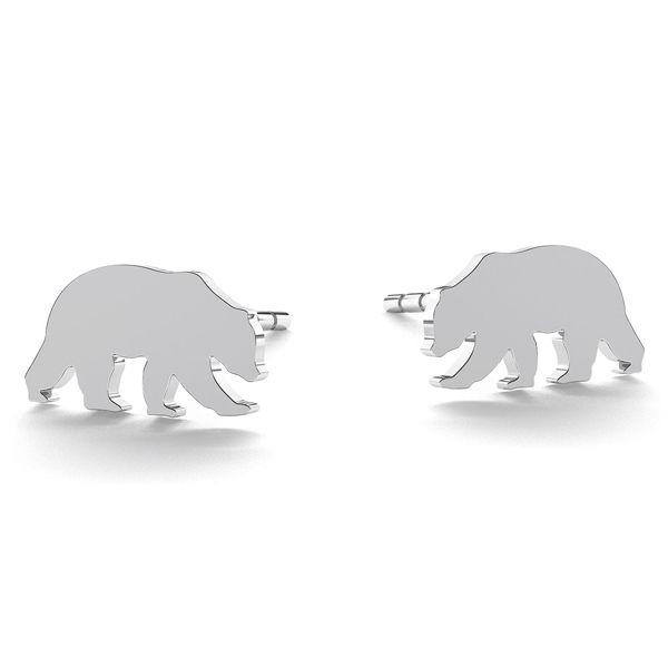 Bear earrings, sterling silver 925, LK-0615 KLS - 0,50