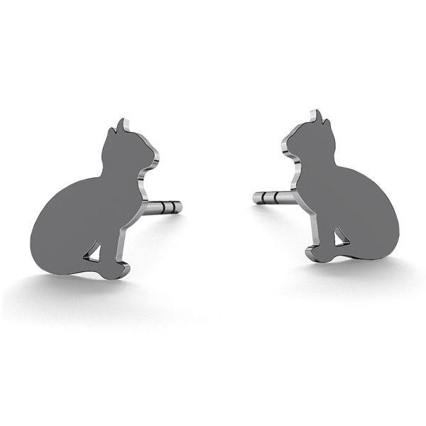 Cat earrings, sterling silver 925, LK-0615 KLS - 0,50
