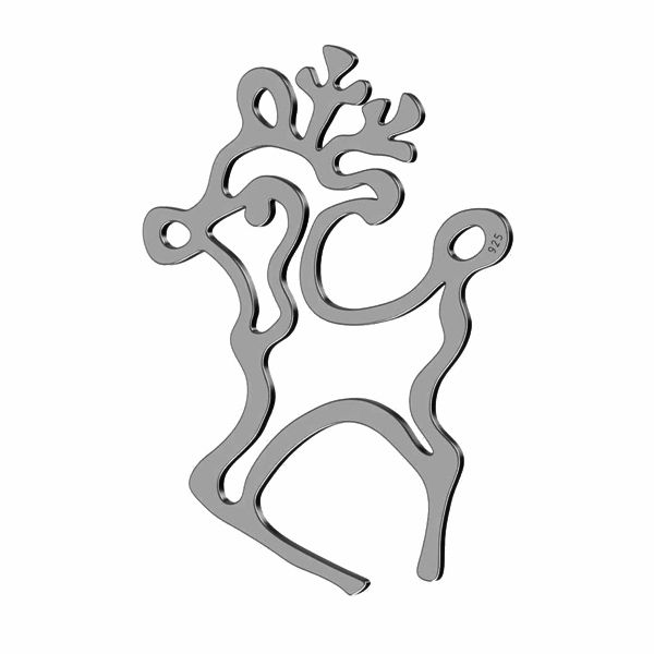 Reindeer pendant connector, sterling silver 925, LK-1417 - 0,50