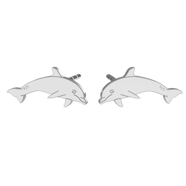 Dolphin earrings, sterling silver 925, LK-1386 KLS - 0,50