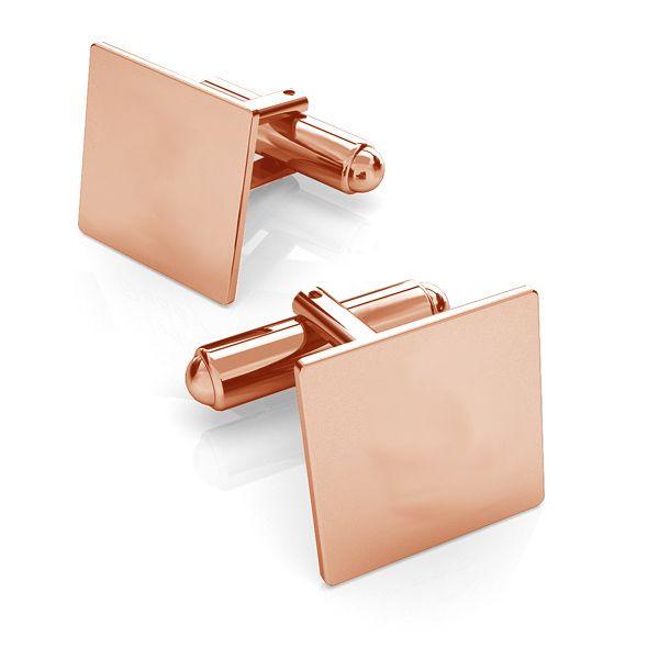 Silver rectangle cufflinks base, LK-1444 - 0,50
