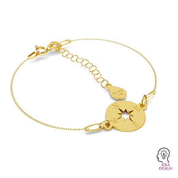 Short gold chain, extension for bracelet, SG-ROLO 040 AU 585, 14K - 3 CM