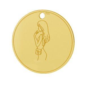 Virgo zodiac pendant, sterling silver 925, LK-1452 - 0,50