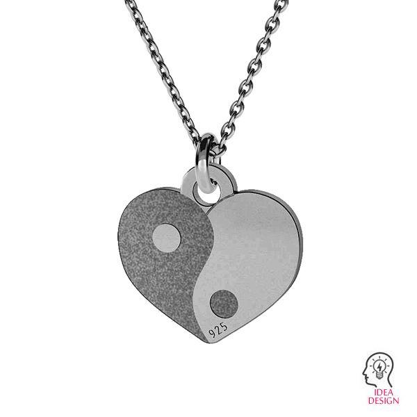 Yin Yang heart pendant, sterling silver 925, LK-1479 - 0,50