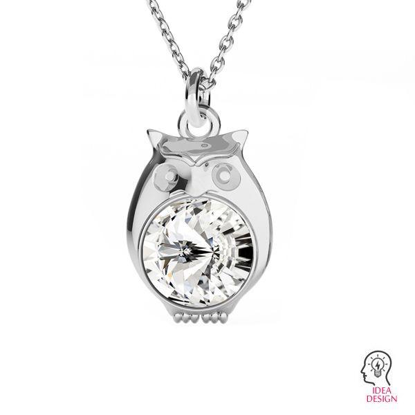 Owl pendant for Swarovski Rivoli 6 mm, sterling silver, ODL-00389 (1122 SS 29)