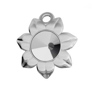 Flower pendant base for Swarovski Rivoli 6 mm, sterling silver, ODL-00448 (1122 SS 29)