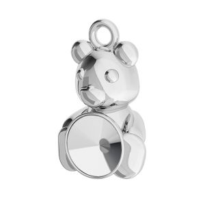 Teddy bear pendant base for Swarovski Rivoli 6 mm, sterling silver, ODL-00446 (1122 SS 29)
