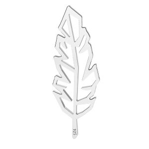 Origami feather pendant connector, sterling silver, LK-1505 - 0,50