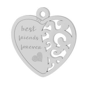 Best friend heart pendant, sterling silver, LKM-2043