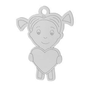 Girl heart pendant, sterling silver, LKM-2047