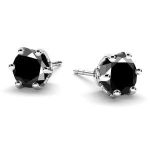 Black zirconia 6 mm earrings sterling silver, KLS-19